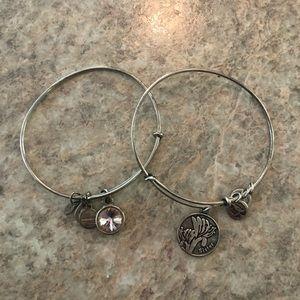 Two Silver Alex & Ani Bracelets